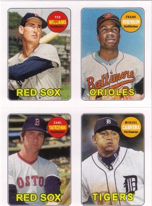 2013 Topps Archives Four-In-One #WRYC Ted Williams/Frank Robinson/Carl Yastrzemski/Miguel Cabrera