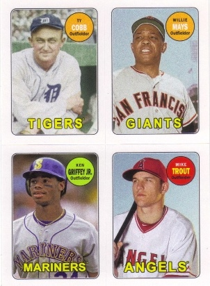 2013 Topps Archives Four-In-One #CMGT Ty Cobb/Willie Mays/Ken Griffey Jr./Mike Trout