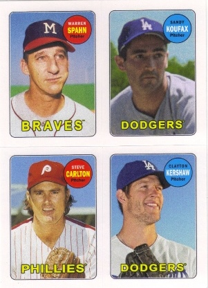 2013 Topps Archives Four-In-One #SKCK Warren Spahn/Sandy Koufax/Steve Carlton/Clayton Kershaw