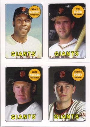 2013 Topps Archives Four-In-One #MCWP Willie McCovey/Will Clark/Matt Williams/Buster Posey