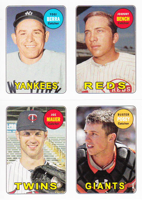 2013 Topps Archives Four-In-One #BBMP Yogi Berra/Johnny Bench/Joe Mauer/Buster Posey