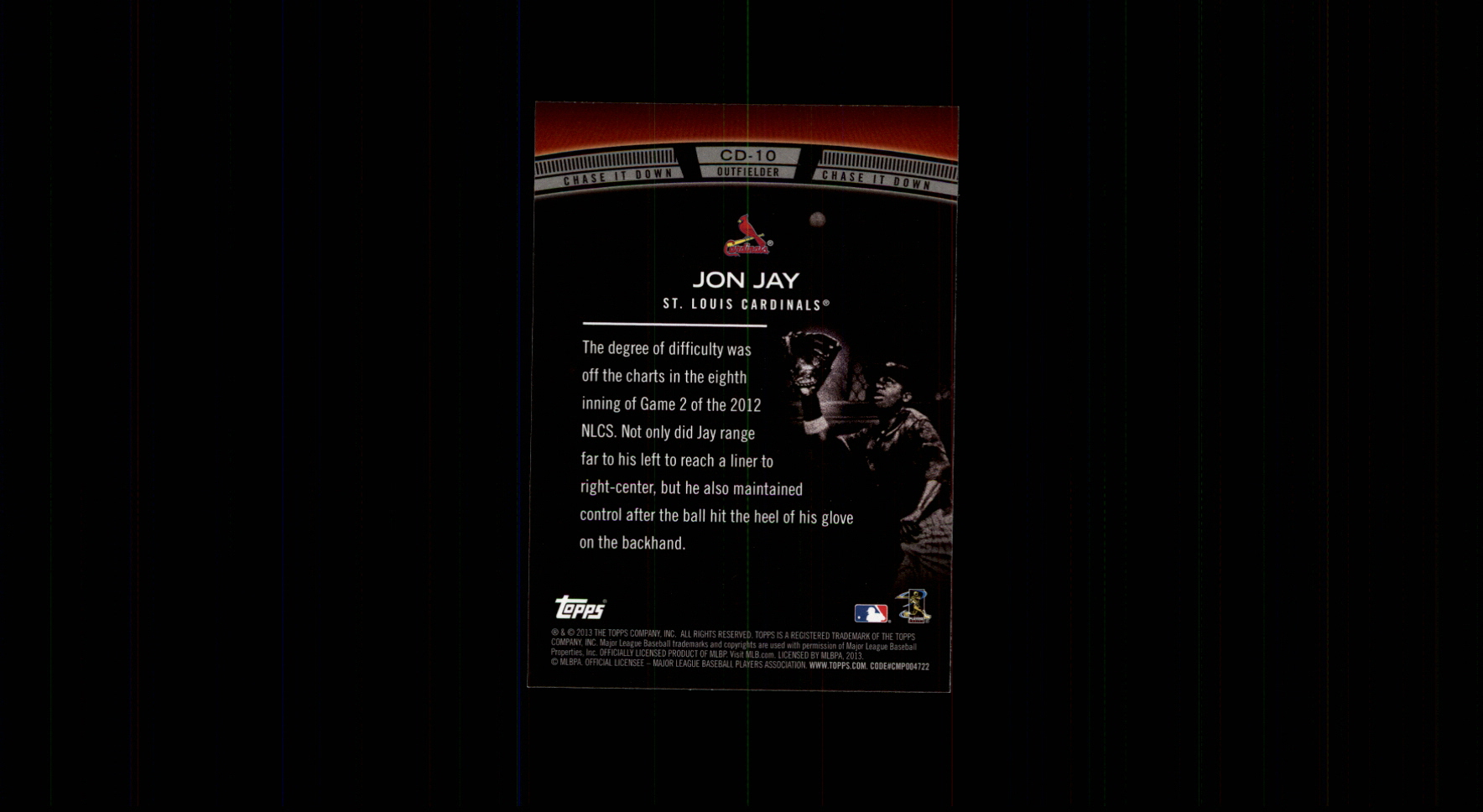 2013 Topps Chase It Down #CD10 Jon Jay back image