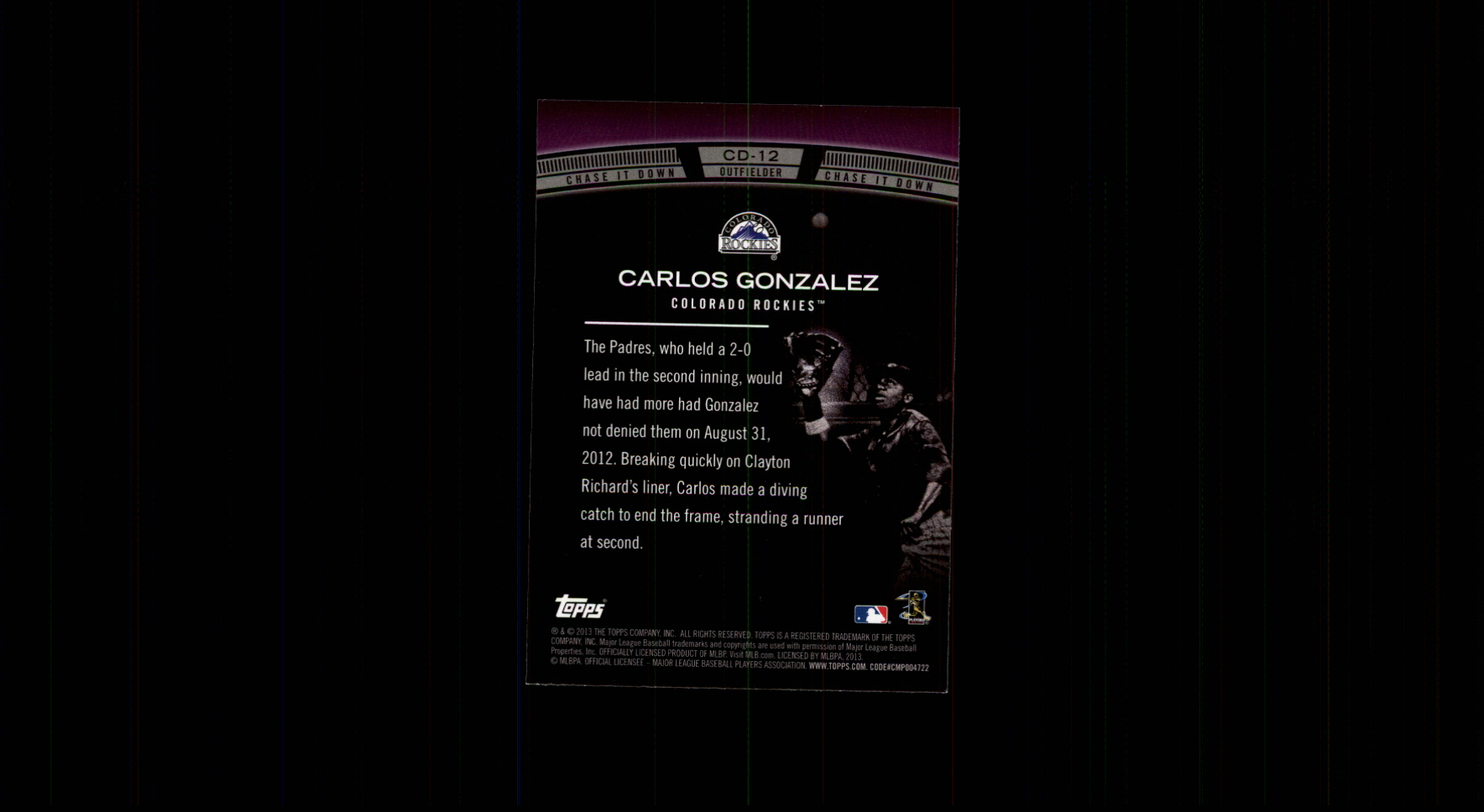 2013 Topps Chase It Down #CD12 Carlos Gonzalez back image