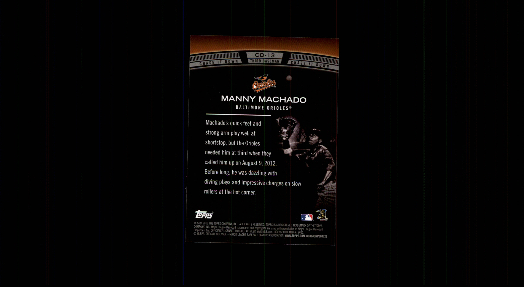 2013 Topps Chase It Down #CD13 Manny Machado back image