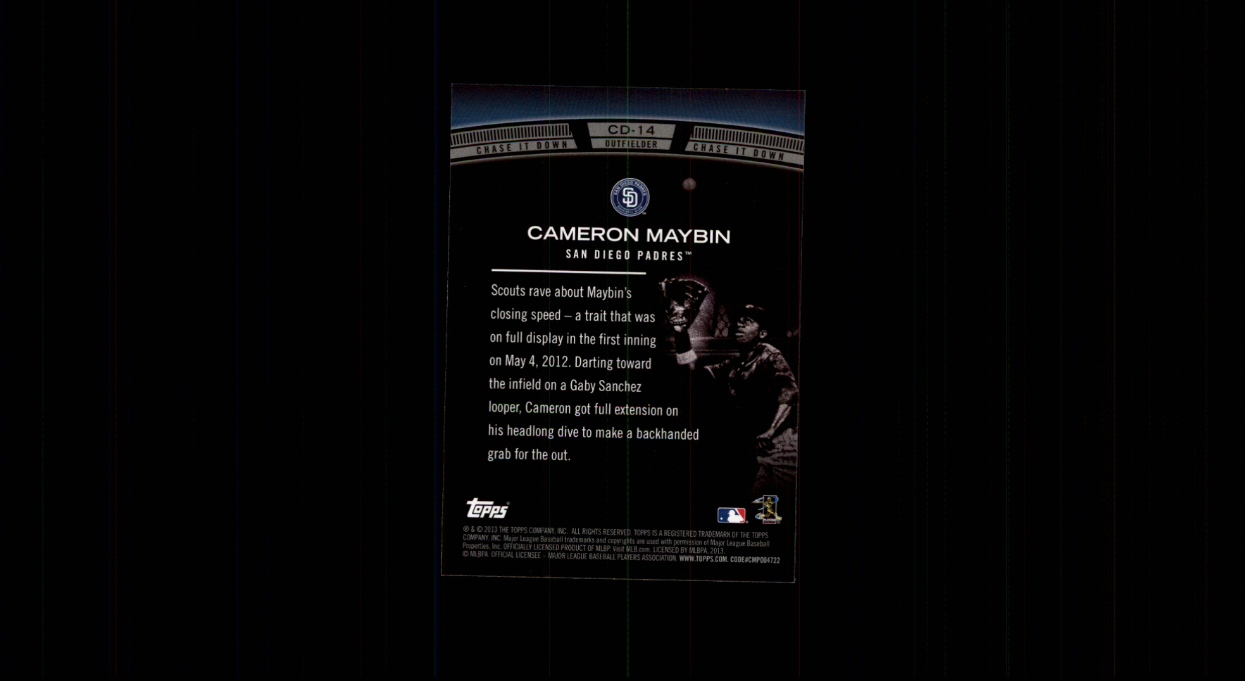 2013 Topps Chase It Down #CD14 Cameron Maybin back image