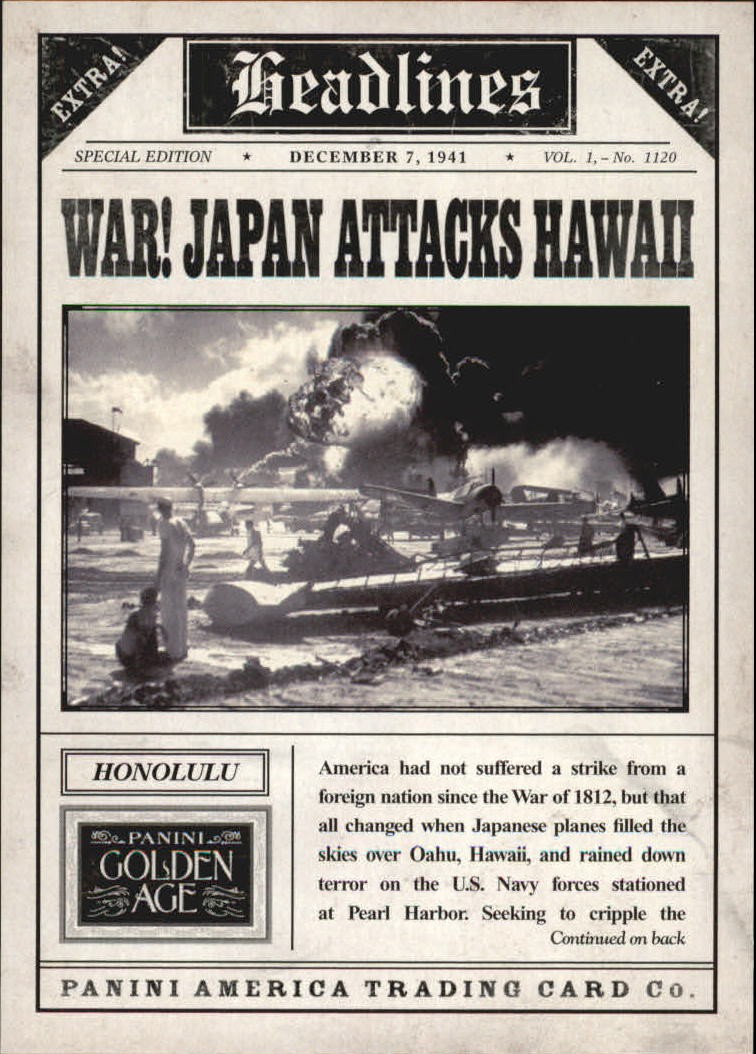 2013 Panini Golden Age Headlines #9 Pearl Harbor