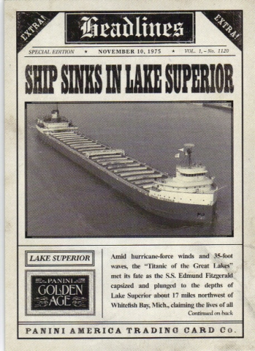 2013 Panini Golden Age Headlines #10 The Edmund Fitzgerald