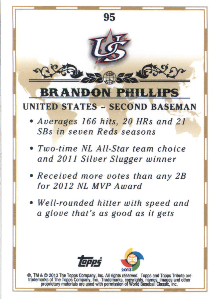 2013 Topps Tribute WBC #95 Brandon Phillips