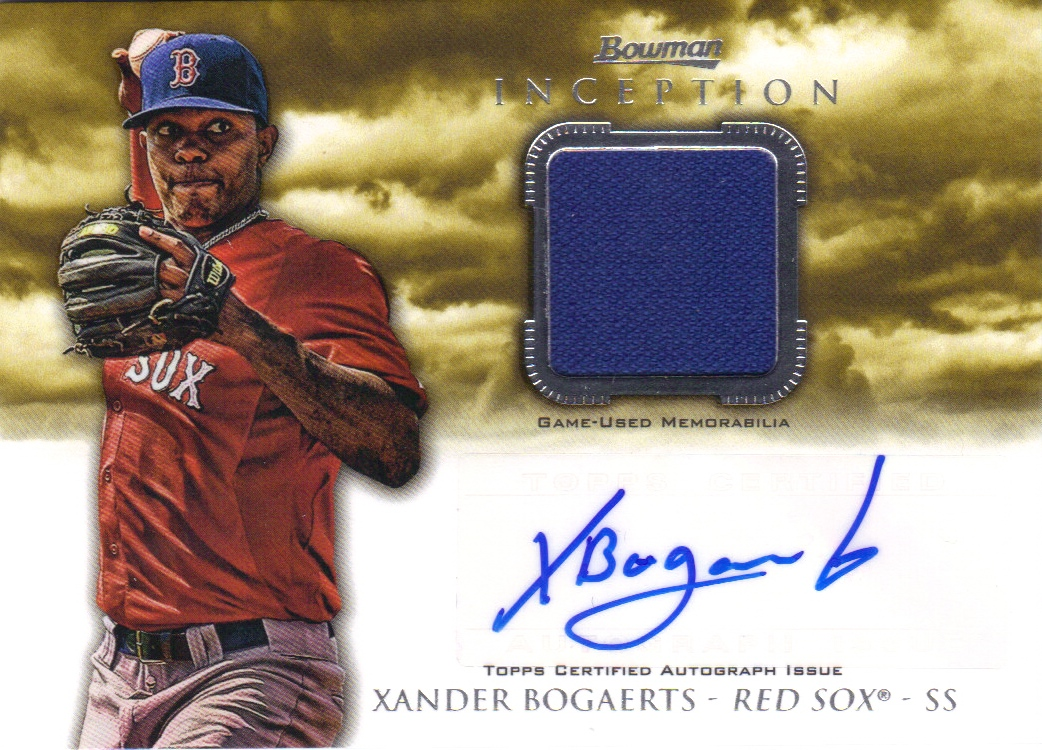 2013 Bowman Inception Relic Autographs #XB Xander Bogaerts