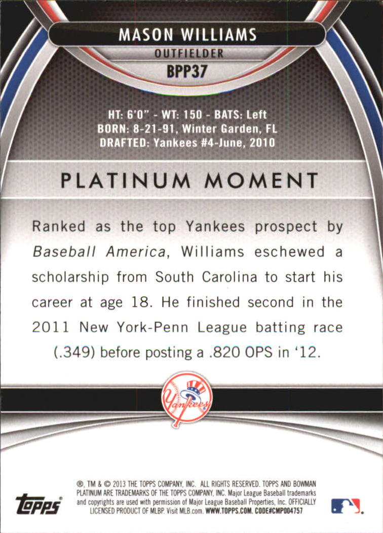 2013 Bowman Platinum Prospects #BPP37 Mason Williams