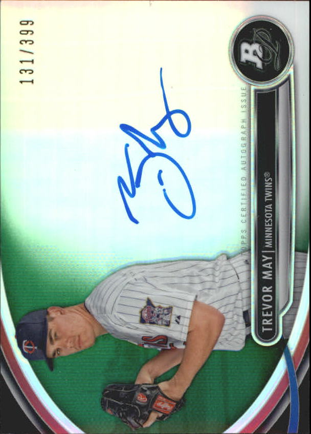 2013 Bowman Platinum Prospect Autographs Green Refractors #TM Trevor May