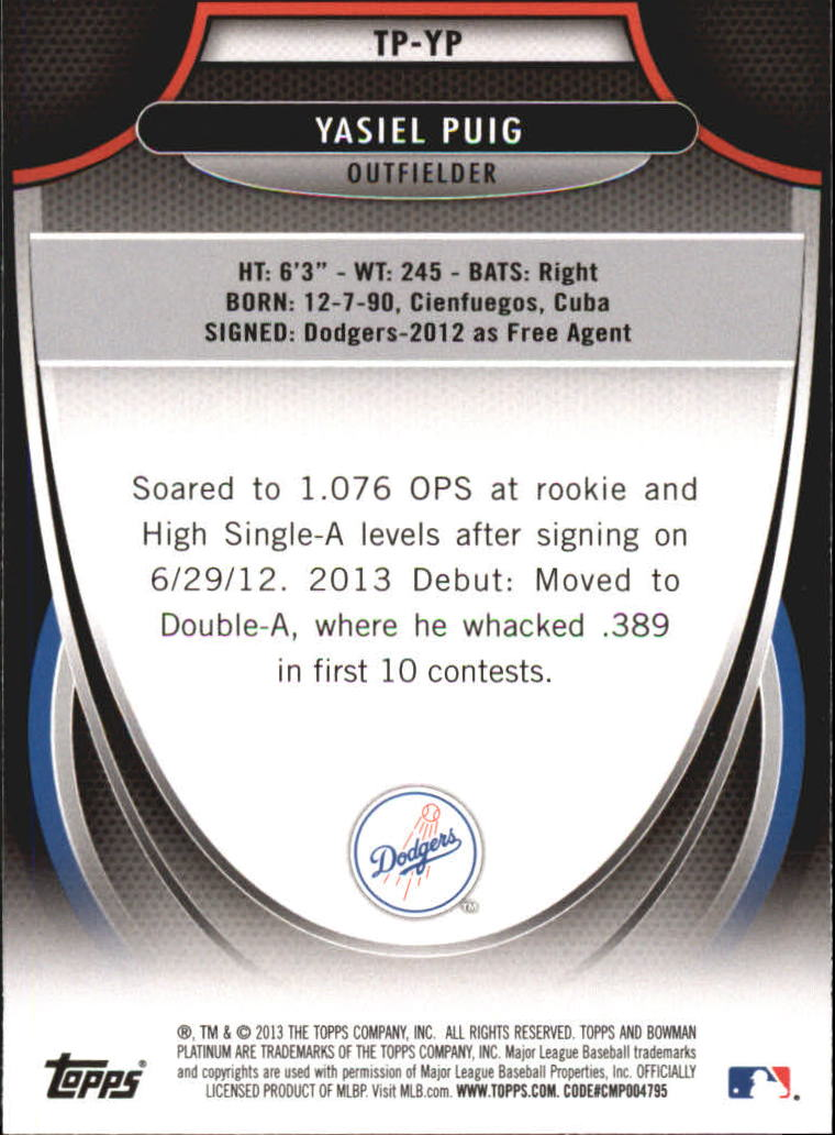 2013 Bowman Platinum Top Prospects #YP Yasiel Puig