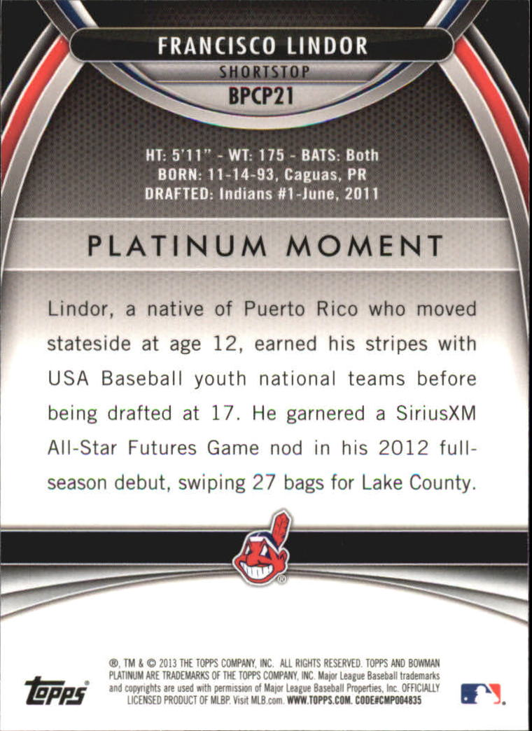 2013 Bowman Platinum Chrome Prospects Refractors #BPCP21 Francisco Lindor