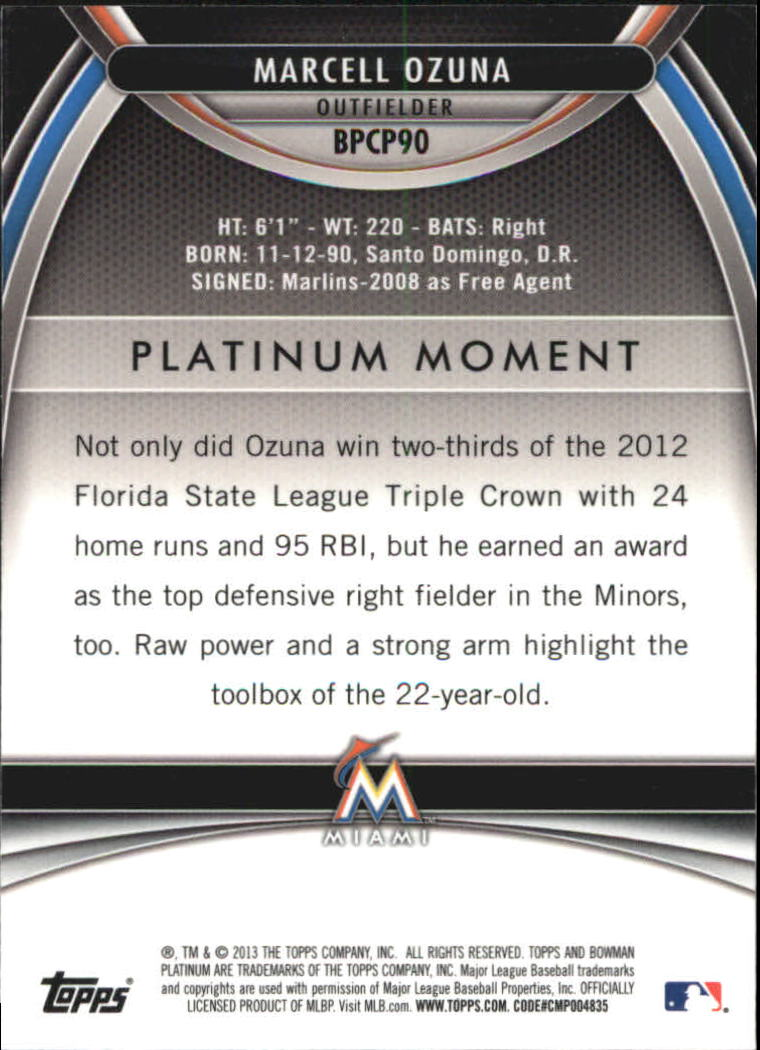 2013 Bowman Platinum Chrome Prospects Refractors #BPCP90 Marcell Ozuna back image