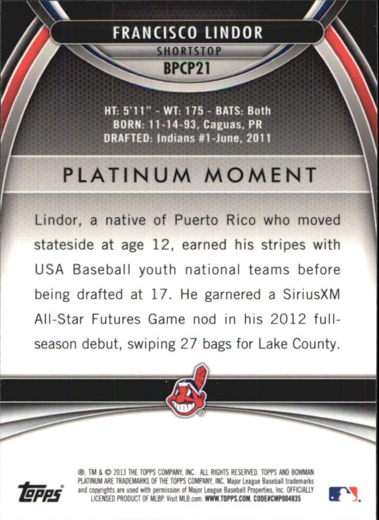 2013 Bowman Platinum Chrome Prospects Purple Refractors #BPCP21 Francisco Lindor