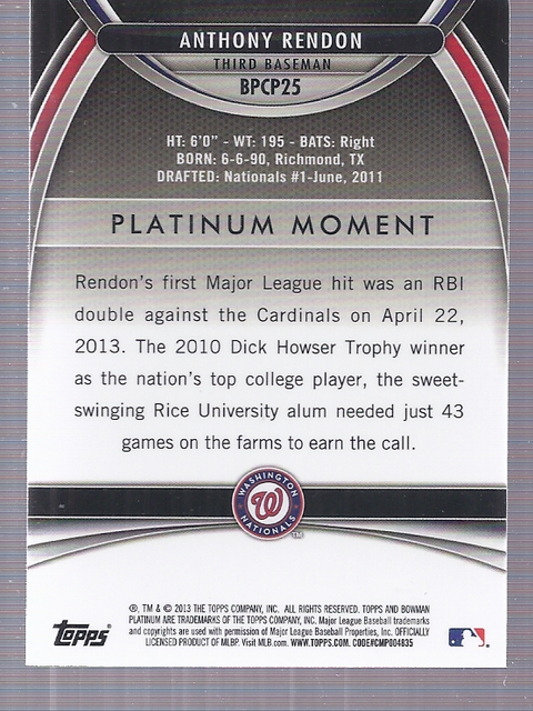 2013 Bowman Platinum Chrome Prospects Purple Refractors #BPCP25 Anthony Rendon back image