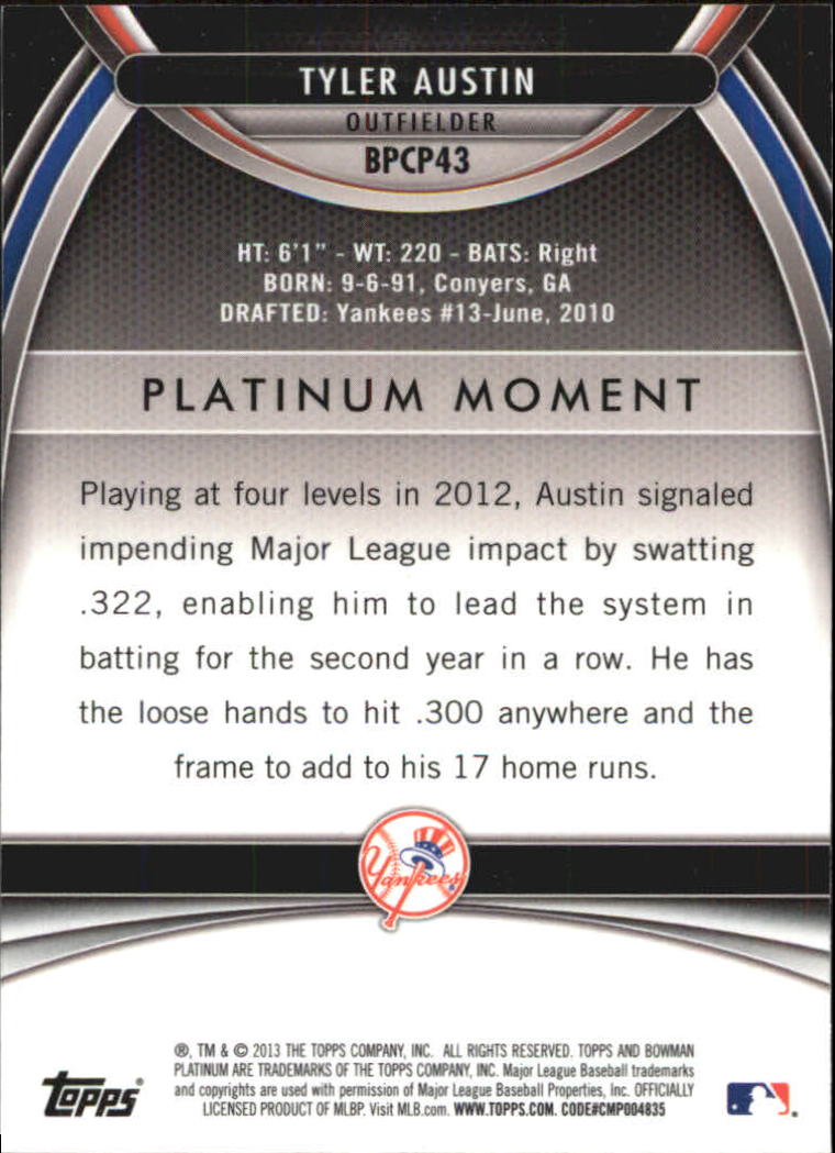 2013 Bowman Platinum Chrome Prospects Purple Refractors #BPCP43 Tyler Austin