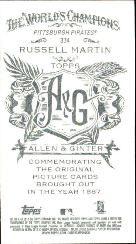 2013 Topps Allen and Ginter Mini A and G Back #334 Russell Martin