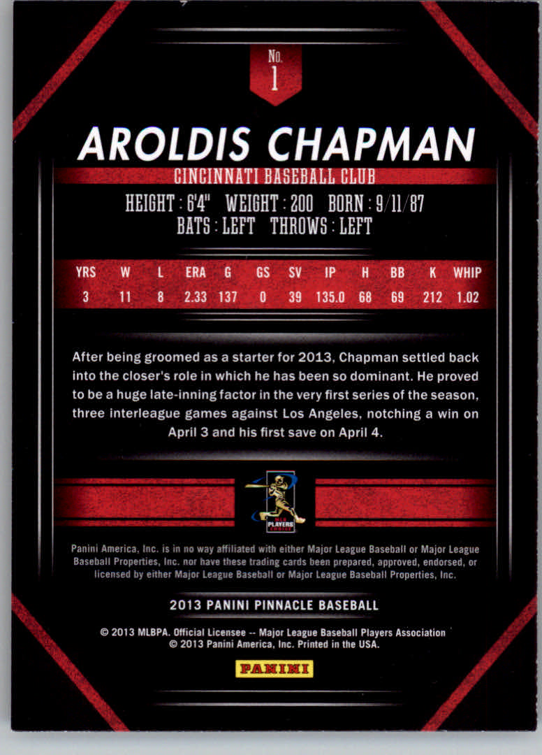 2013 Pinnacle #1 Aroldis Chapman back image