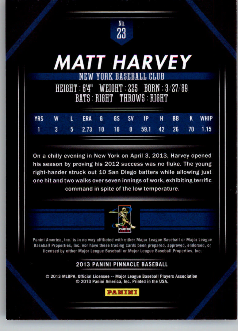 2013 Pinnacle #23 Matt Harvey back image