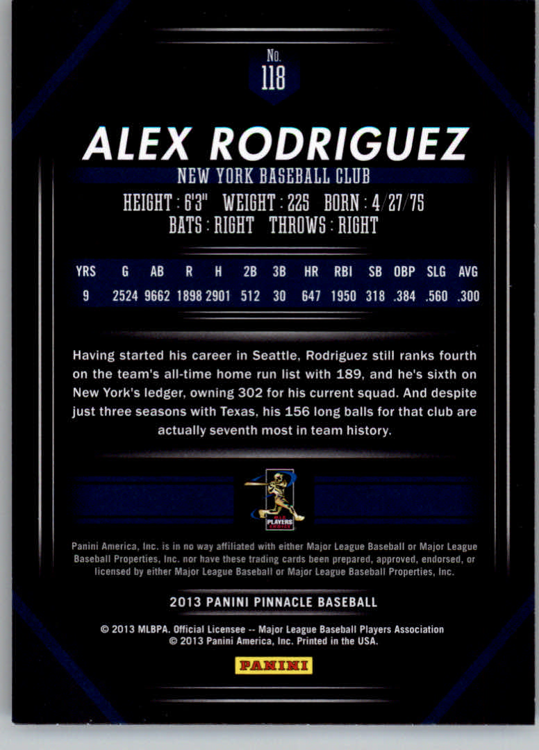 2013 Pinnacle #118 Alex Rodriguez back image