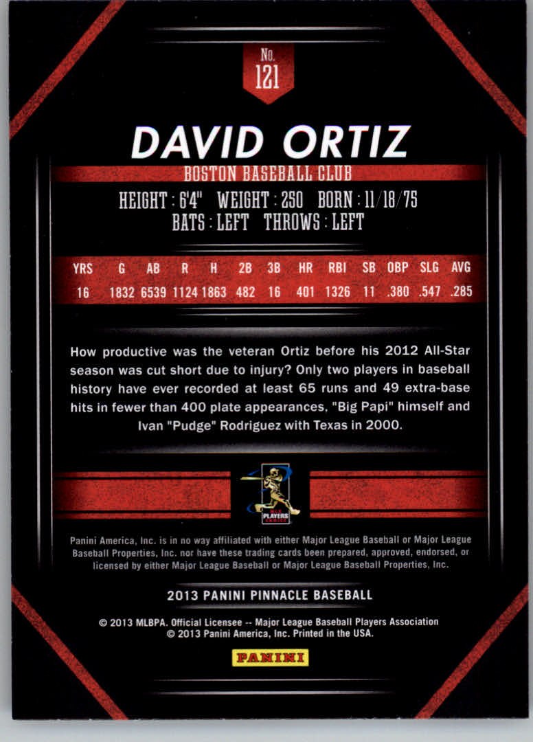 2013 Pinnacle #121 David Ortiz back image