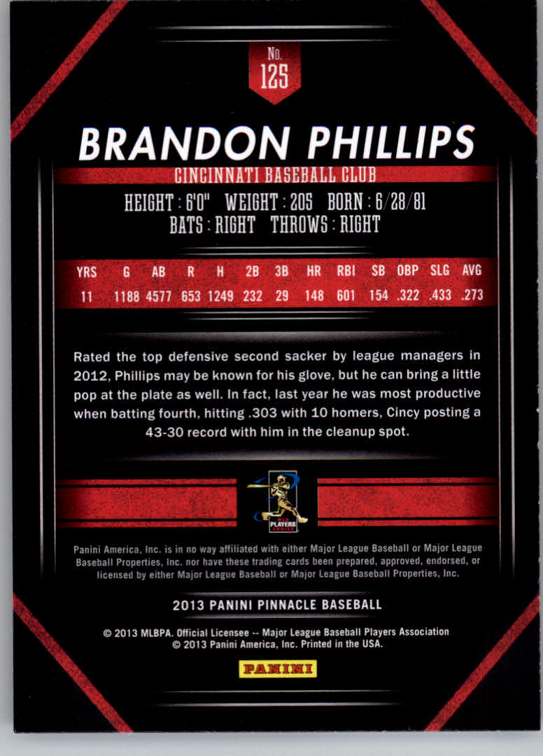 2013 Pinnacle #125 Brandon Phillips back image