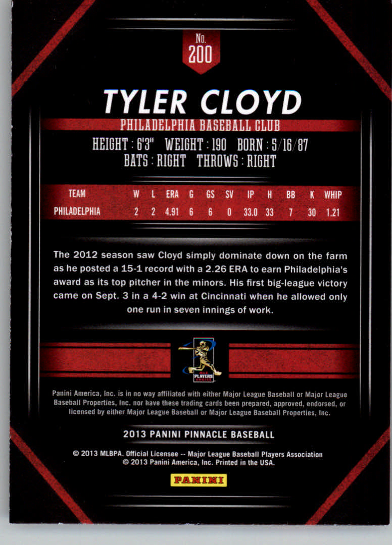 2013 Pinnacle #200 Tyler Cloyd RC back image