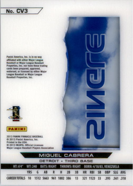 2013 Pinnacle Clear Vision Hitting Single #3 Miguel Cabrera