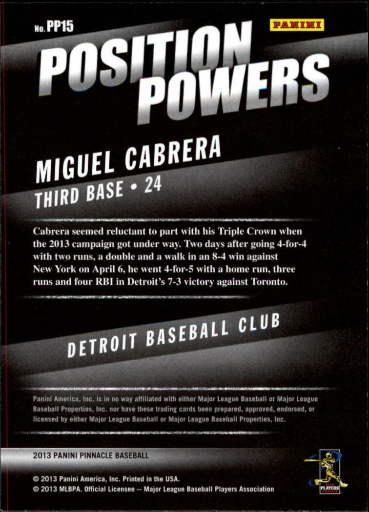 2013 Pinnacle Position Powers #15 Miguel Cabrera