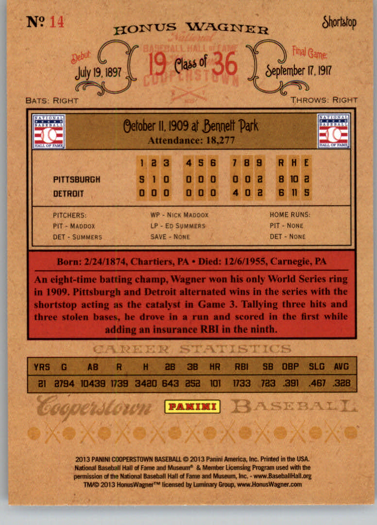 2013 Panini Cooperstown #14 Honus Wagner back image