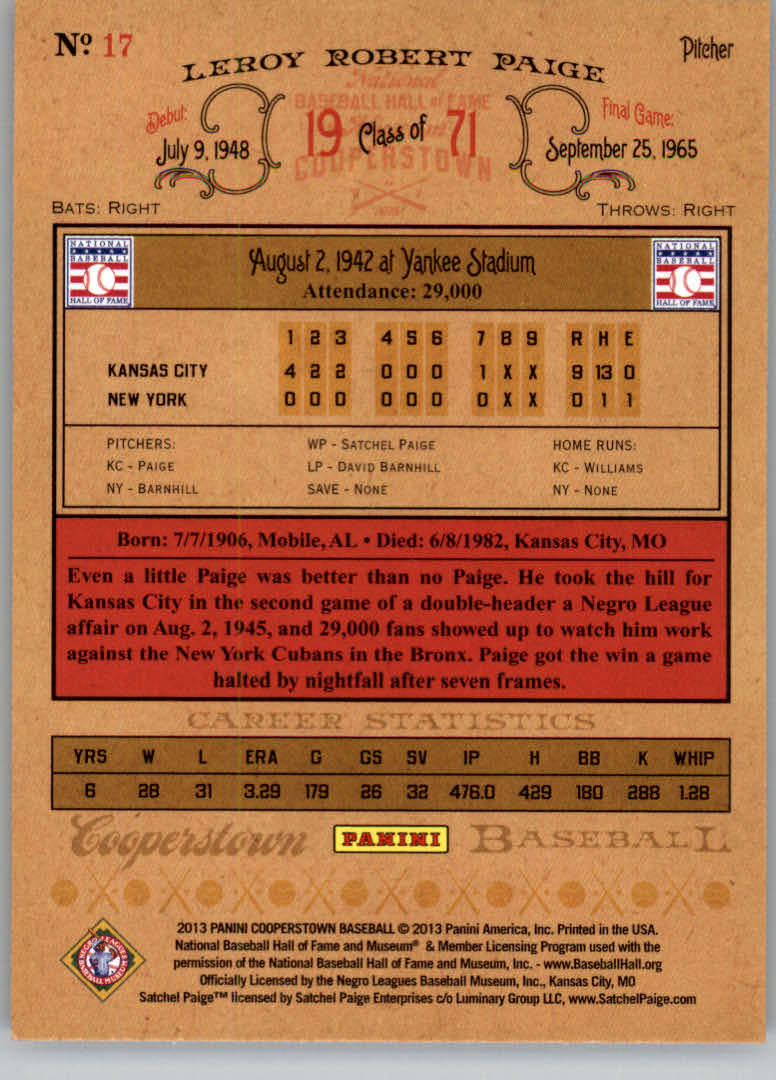 2013 Panini Cooperstown #17 Satchel Paige