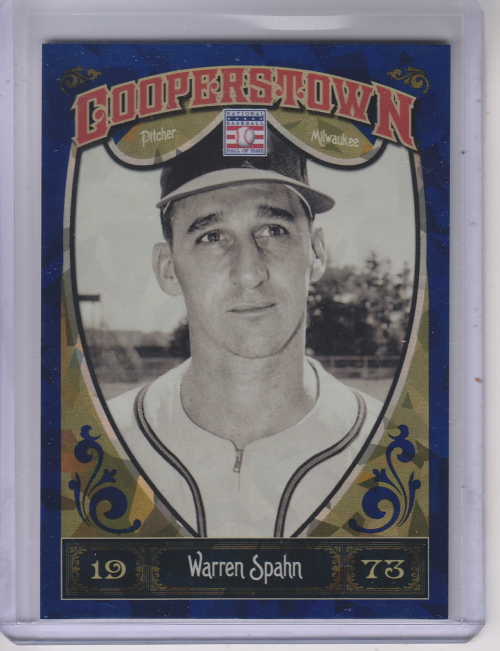 2013 Panini Cooperstown Blue Crystal #63 Warren Spahn
