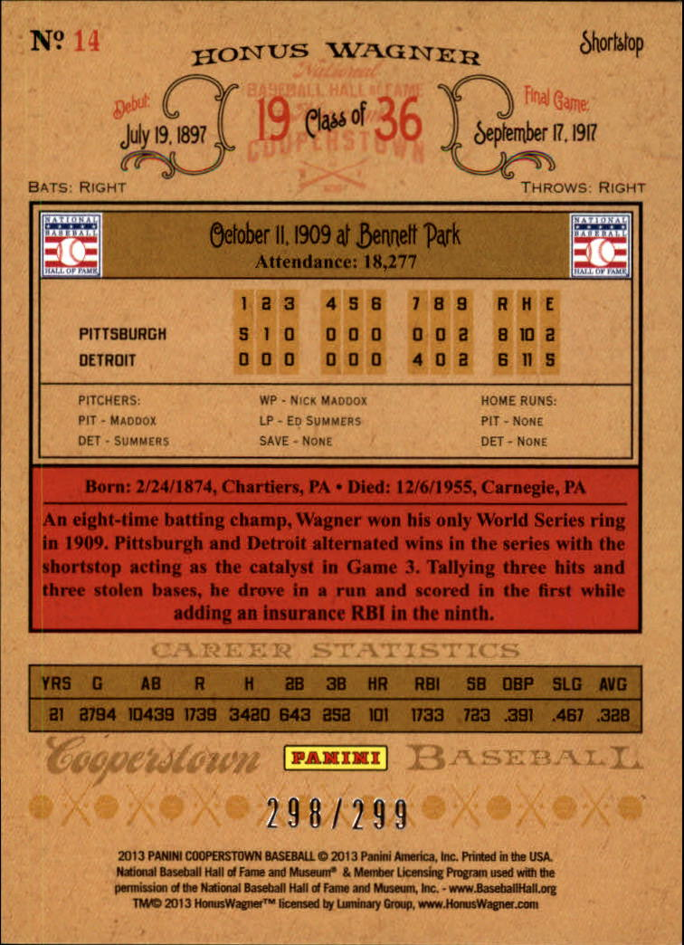 2013 Panini Cooperstown Gold Crystal #14 Honus Wagner back image