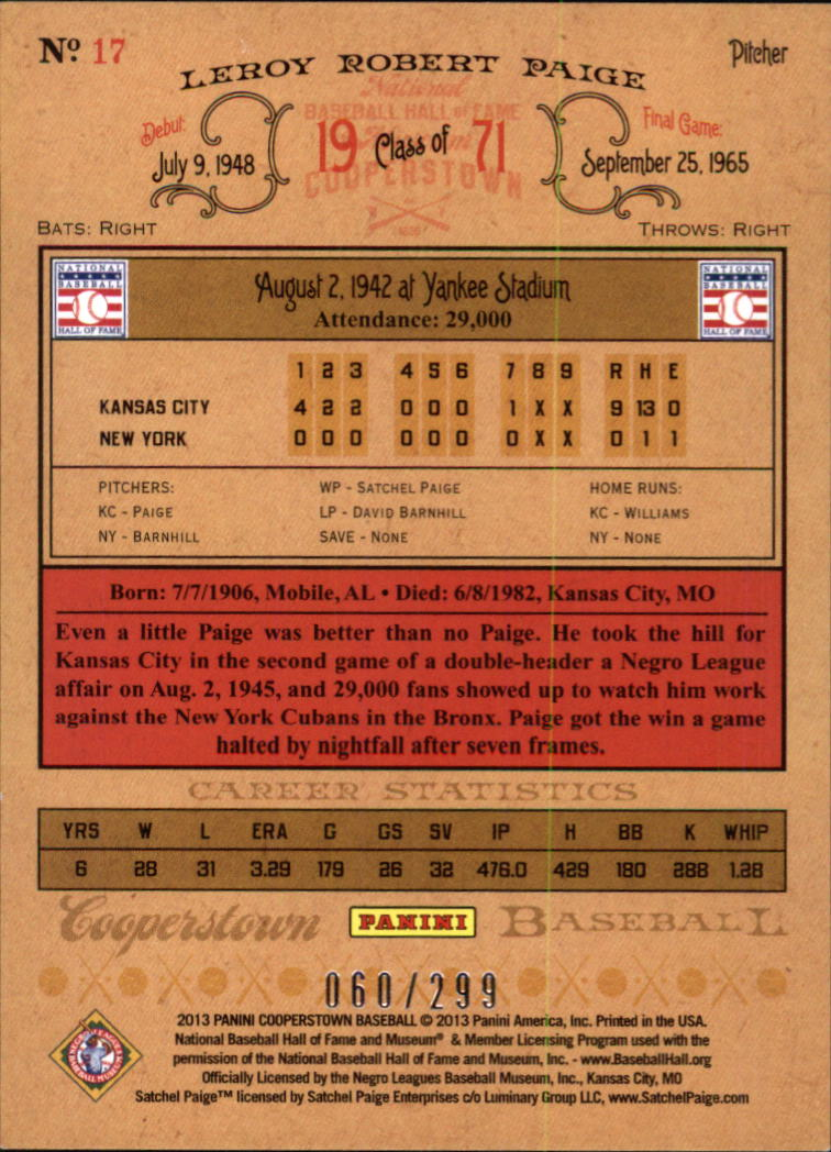 2013 Panini Cooperstown Gold Crystal #17 Satchel Paige