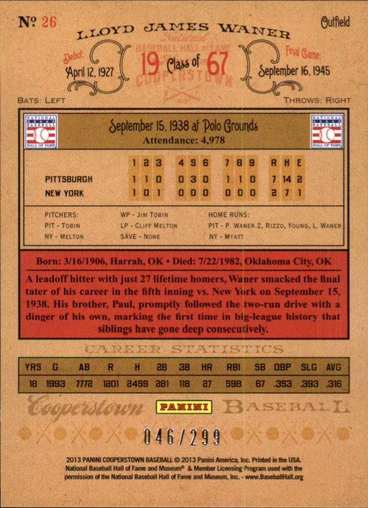 2013 Panini Cooperstown Gold Crystal #26 Lloyd Waner