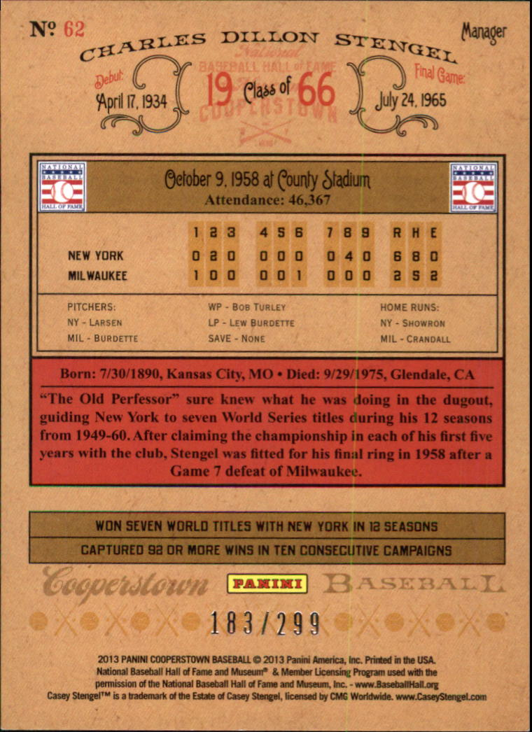 2013 Panini Cooperstown Gold Crystal #62 Casey Stengel