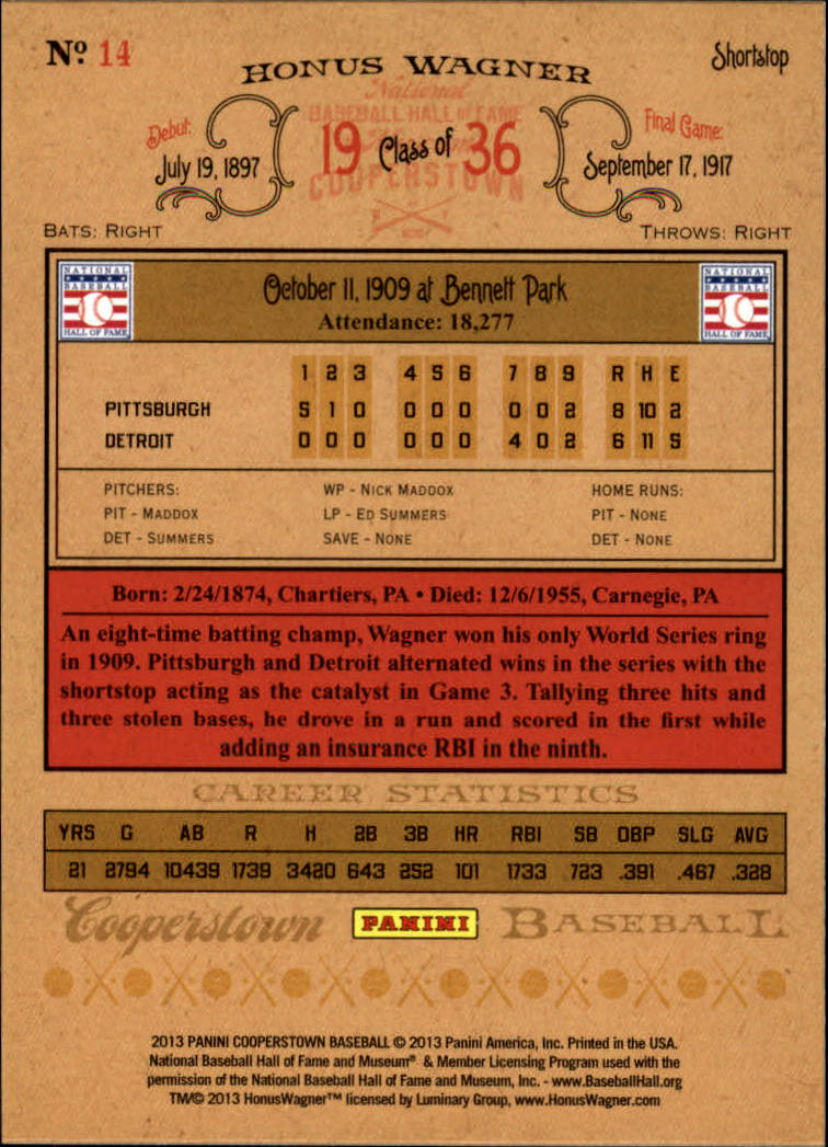 2013 Panini Cooperstown Green Crystal #14 Honus Wagner back image