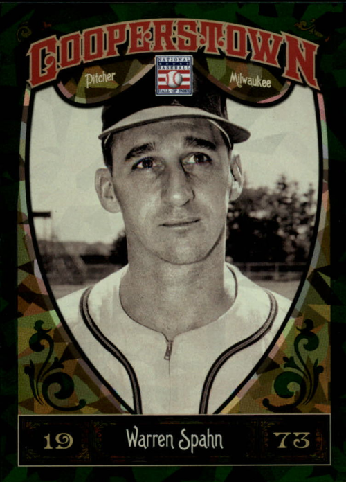 2013 Panini Cooperstown Green Crystal #63 Warren Spahn