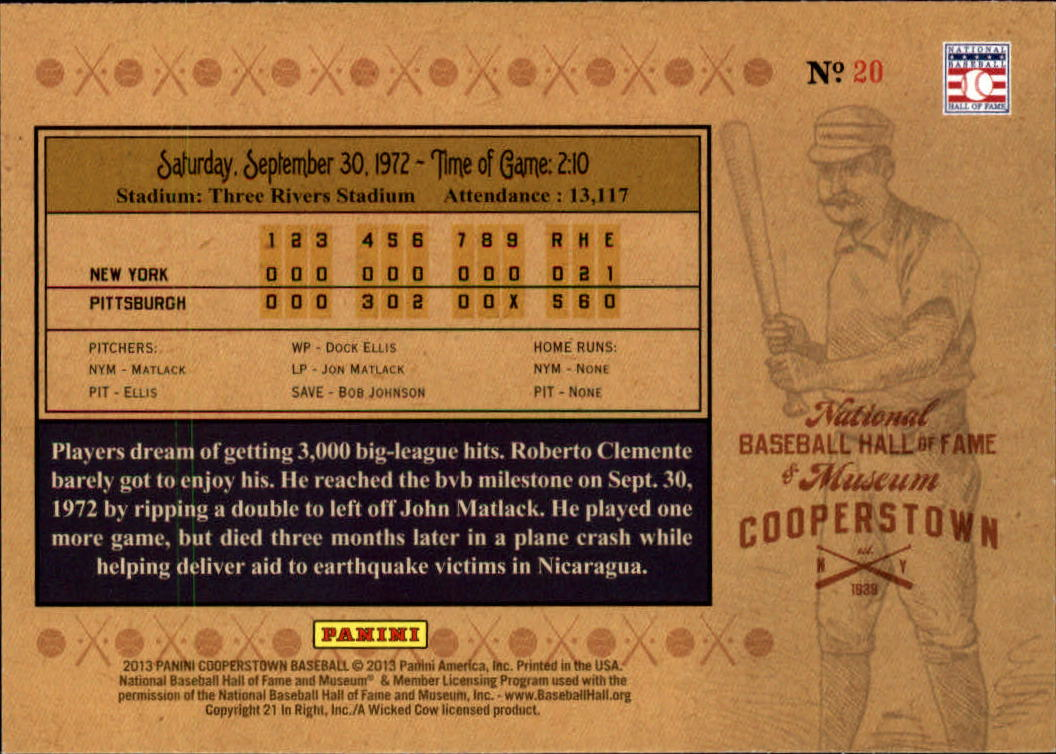 2013 Panini Cooperstown Historic Tickets #20 Roberto Clemente