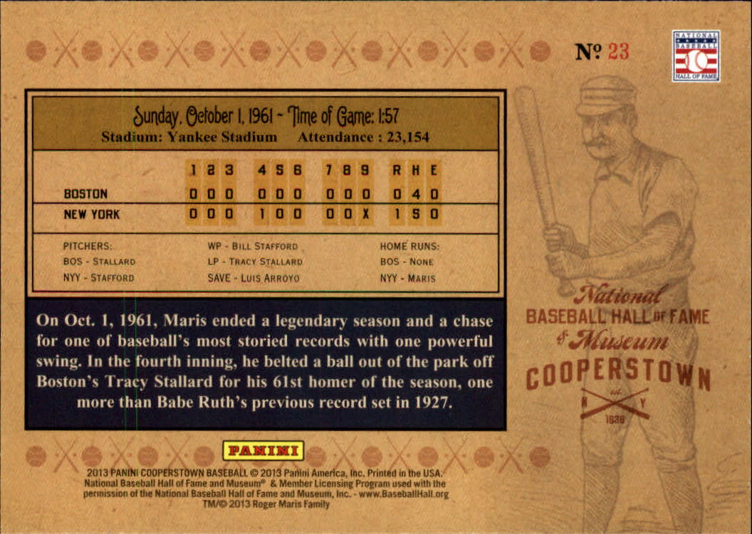 2013 Panini Cooperstown Historic Tickets #23 Roger Maris