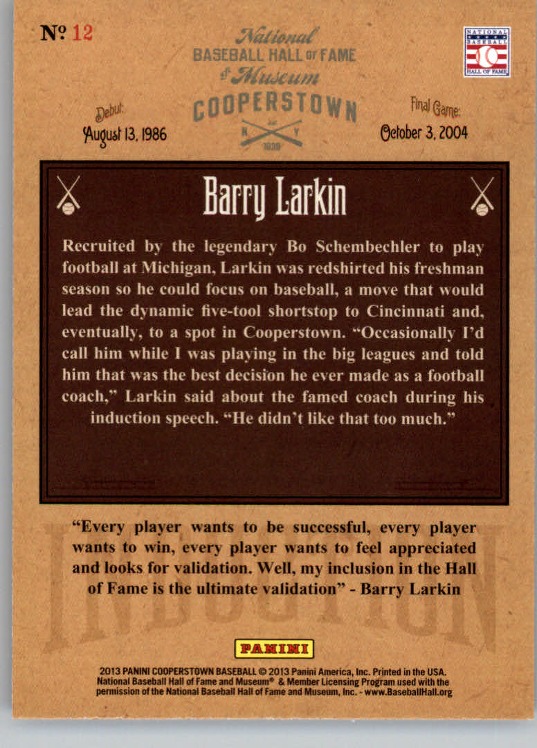 2013 Panini Cooperstown Induction #12 Barry Larkin