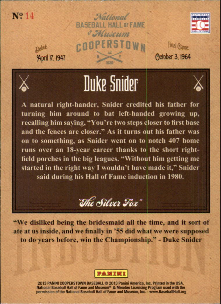 2013 Panini Cooperstown Induction #14 Duke Snider