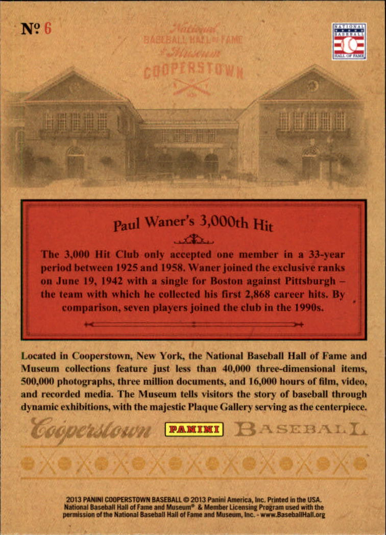 2013 Panini Cooperstown Museum Pieces #6 Paul Waner