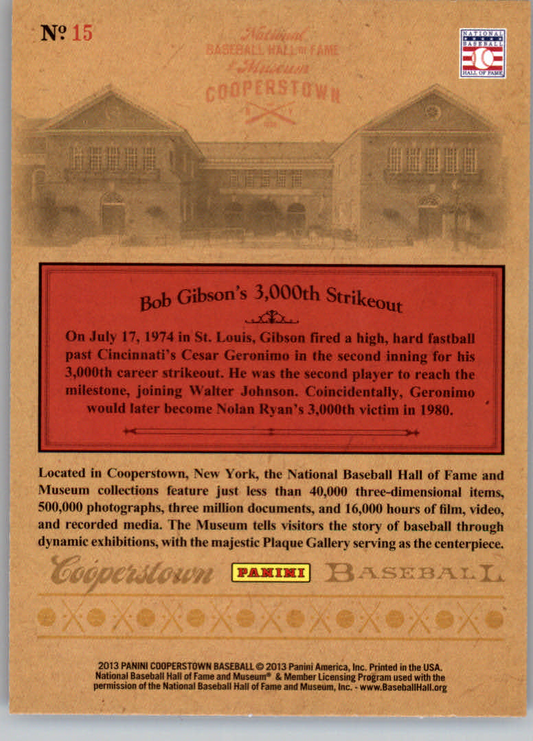2013 Panini Cooperstown Museum Pieces #15 Bob Gibson
