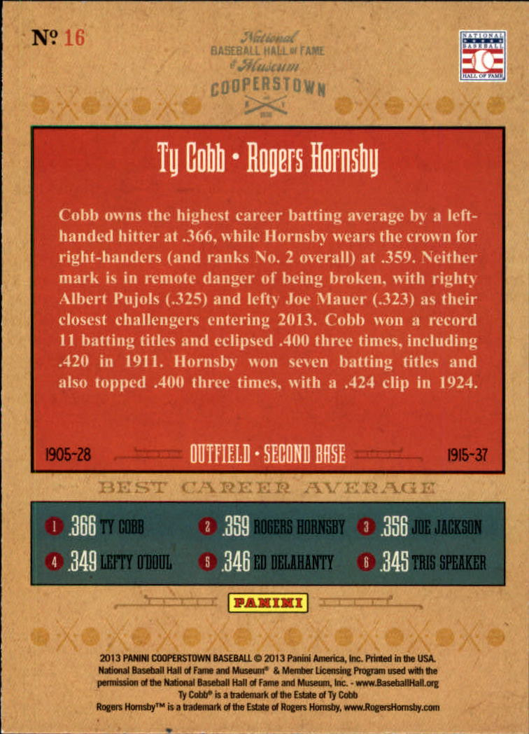 2013 Panini Cooperstown Numbers Game #16 Rogers Hornsby/Ty Cobb
