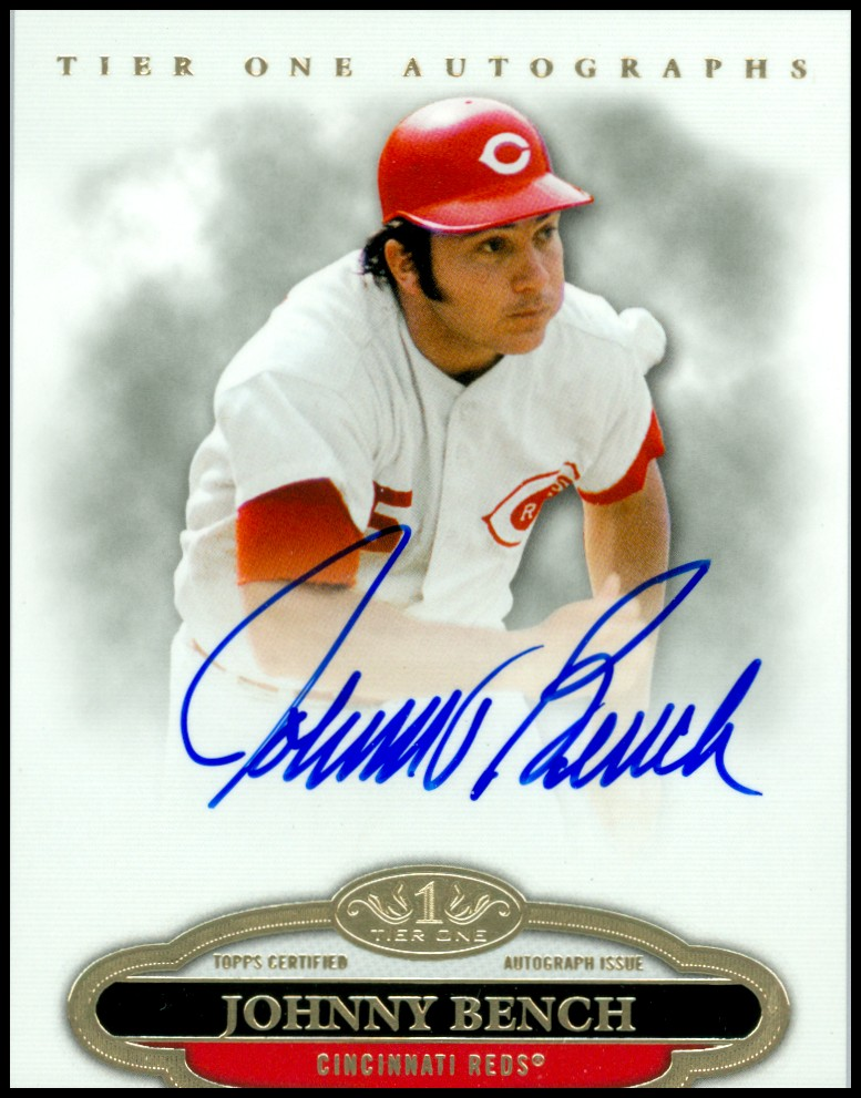 2013 Topps Tier One Autographs #JB Johnny Bench EXCH