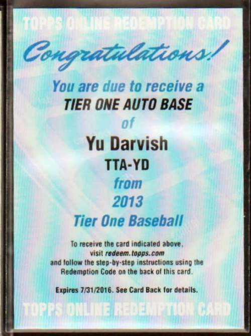 2013 Topps Tier One Autographs #YD Yu Darvish EXCH