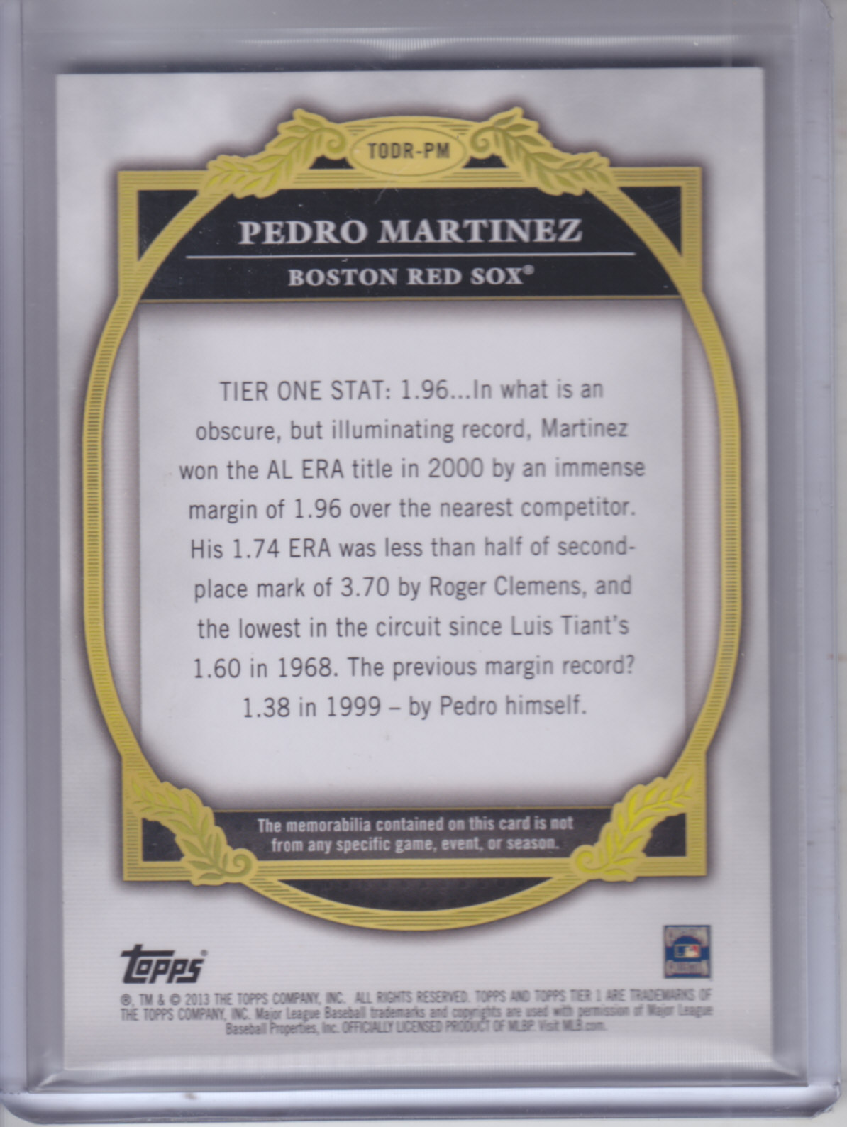 2013 Topps Tier One Dual Relics #PM Pedro Martinez