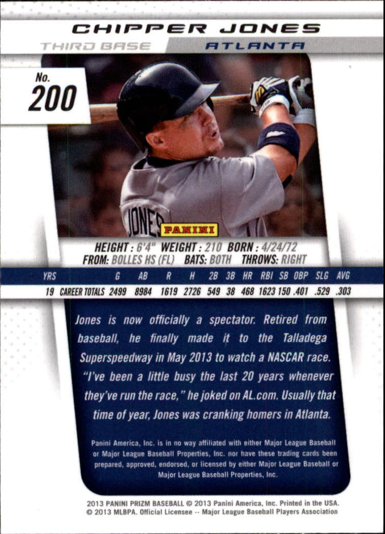 2013 Panini Prizm #200 Chipper Jones